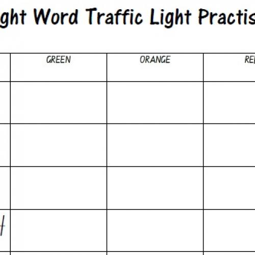 Practise 2 word worksheet Light sight off Columns)  (3 Year Traffic